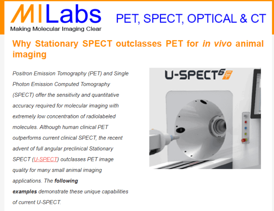 Why Stationary Spect Outclasses Pet For In Vivo Animal Imaging Milabs