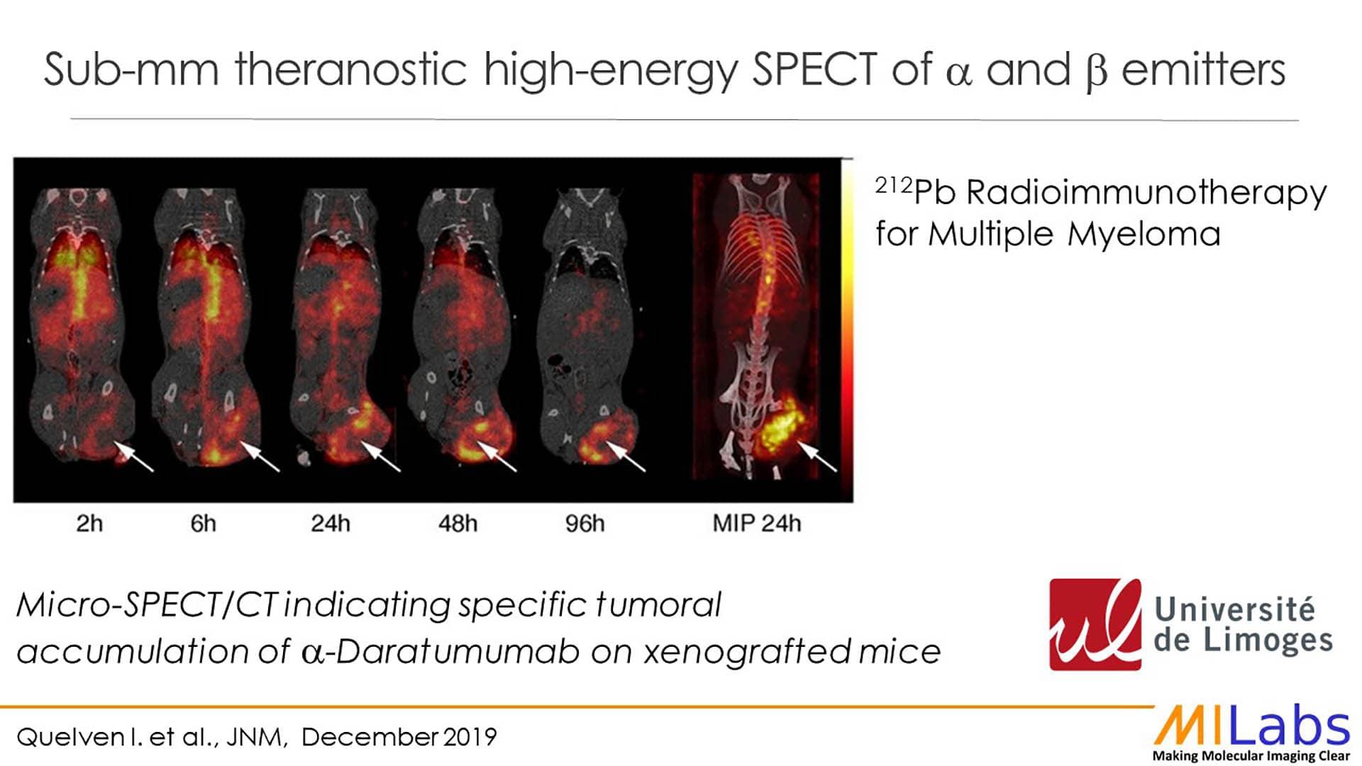 sub-mm spect imaging theranostics alpha beta emitters